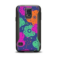 The Bright Colored Cartoon Flowers Samsung Galaxy S5 Otterbox Commuter Case Skin Set