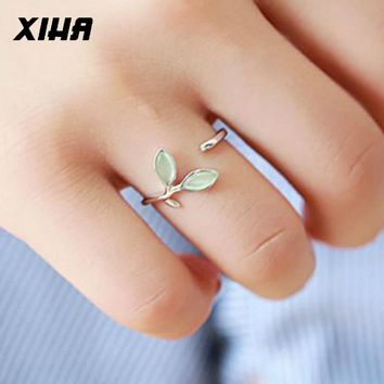 Silver Ring with Opal Adjustable Open Size Green Leaf Buds 925 Sterling Silver Rings for Women Simple Fashion Jewelry SR001