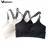 2017 Women Seamless Padded Sport Bra Letters Straps Absorb Sweat Fitness Yoga Bras For Gym Workout Running Vest Sport Crop Tops