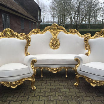 Rococo Furniture Settee Chair Antique Italian Throne 3 Piece Bergere Sofa Original Gold Leaf Gild Suede Ivory Beige Creme Baroque Louis XVI