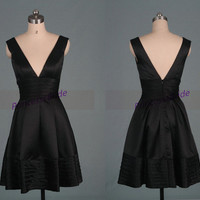Short black satin prom dresses affordable,sexy simple homecoming gowns discount,cheap women dress for holiday party under 100.