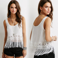 White Lace Fringed Sleeveless Chiffon Shirt
