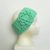 Winter Ear Warmer Headband in Mint with Large Rose, ready to ship.