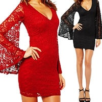 2016 Fashion Long Sleeve Lace Dress New Brand Sexy Women Summer V neck Casual Lace Formal Party Cocktail Prom Mini Dress 01c0303