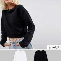 ASOS Cropped Sweatshirt 2 Pack Save 10% at asos.com