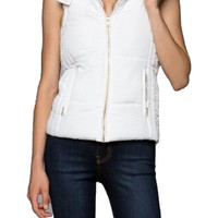 Hooded Puffy Vest W/ Fur Lined Collar
