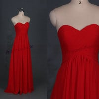 Floor length chiffon bridesmaid gowns in red,simple women dress for wedding party,affordable bridesmaid prom dresses hot.