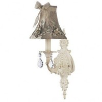 Jubilee Collection Wall Lighting  Wall Sconce with Taupe Floral Bouquet Shade in Ivory - 820003_2701 - Wall Lighting - Lighting