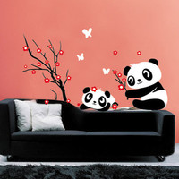 Panda Play With Cherry Blossom Tree Wall Decal Wall Sticker Home Decal Home Sticker