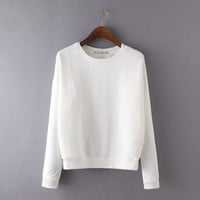 White Embroidered Pullovers Shirt