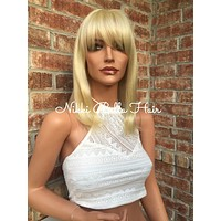Sally Light Blonde Straight Human Hair Wig 10""