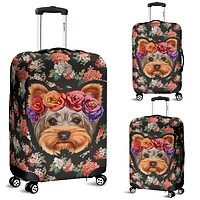 Floral Yorkie Luggage Cover