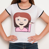 Girl Emoji Shirt - Emoji Shirt - Emoji - Girl Emoji - Funny Shirt - Tumblr Shirt - Teen Fashion - Ringer Tee - Women's Clothing
