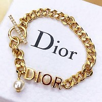 Dior New fashion letter pearl chain bracelet Golden