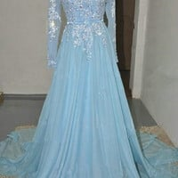 Light Blue Long Sleeves Evening Dress with Lace Appliques and Crystals Prom Gown
