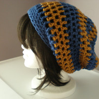 Copley hat in Ravenclaw blue and bronze -- slouchy