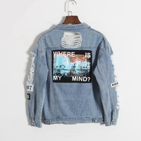 Korea retro washing frayed embroidery letter patch jeans bomber jacket Light Blue Ripped Denim Coat Daylook Letter Print