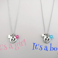New, Born, Baby, Footprint, Silver, Necklace, Personal, Birthstone, Color, Necklace, Lovely, Dainty, Gift, Accessory, Jewelry