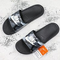 Nike Benassi Swoosh Gray Camo White Slide Sandal Slipper - Best Deal Online