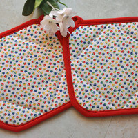Cute floral pot holder set, flower hot pads, great quality oven mitt, heat resistant, kitchen accessories, stocking stuffer gift