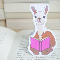 Magnetic bookmark of Lucky the Llama! Book accessories, Unique bookmark, School supplies, Book gift, Animal collectibles, BOOK FARM ANIMALS