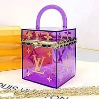 LV Louis Vuitton Square Women's Transparent Jewelry Box