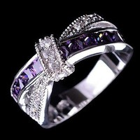 DCCKFS2 cross finger ring for lady paved cz zircon luxury hot princess women wedding engagement ring purple pink color jewelry