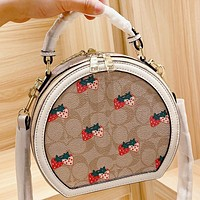 COACH New fashion pattern strawberry print leather shoulder bag handbag crossbody bag