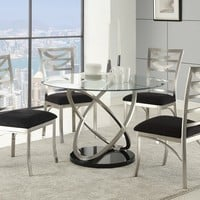 5 pc Tapia collection silver metal and round glass top dining table set with padded seats