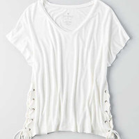 AEO Soft & Sexy Lace-Up Side T-Shirt, Cream