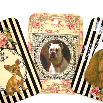 Good Dog Gift Tags , Set Of 6 , Vintage Style Dogs , Dogs On Striped Tags , Beautiful Dog Tags , Framed Dog Tags , Variety Dog Tags