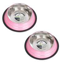 2 Pack Color Splash Stripe Non-Skid Pet Bowl for Dog or Cat - Pink - 32 oz - 4 cup