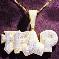 Double Layer Gun Trap Praying Hands Hustle Iced Out Pendant
