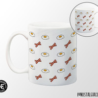 Bacon and Eggs Patterned Coffee Mug - 11 oz Coffee Mug - Breakfast Food - Breakfast Mug - Sunnyside Up Egg - Crispy Fried Bacon