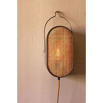 Oval Metal Wall Light With Rattan Detail