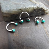 16g Turquoise Septum Nose Ring 5/16″ Daith Piercing Internally Threaded Tragus Green Gemstones Body Jewelry Helix Piercings Conch Rook Horseshoe Silver Earrings