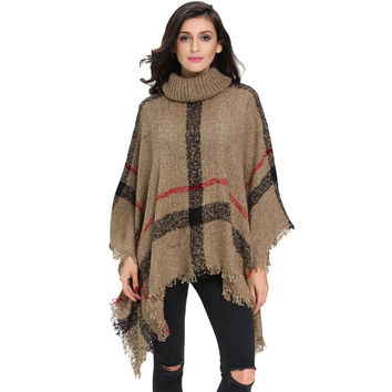 Women Tassel Sweater Batwing Plaid Fringed Pullovers Women Tops Poncho Shawl Cape Pull Sweter SM6