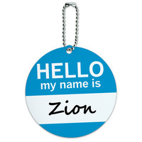 Zion Hello My Name Is Round ID Card Luggage Tag