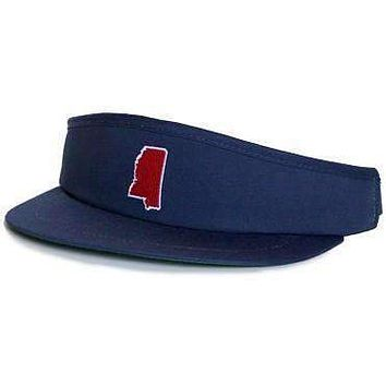MS Oxford Gameday Golf Visor in Navy by State Traditions