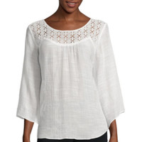 Alyx® Long-Sleeve Lace Front Gauze Woven Top