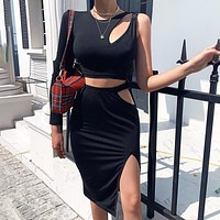 New fashion solid color top and skirt two piece suit Black