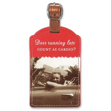 Does Running Late Count As Cardio Luggage Tag in Red