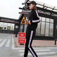 """Givenchy"" Women Casual Multicolor Letter Stripe Webbing Zip Cardigan Long Sleeve Trousers Set Two-Piece Sportswear"
