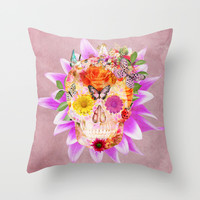 Fruity Psychedelic Skull | Pink Purple Girly Sugar Skull cute Butterfly Flowers Throw Pillow by Girly Trend