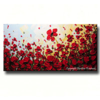 CUSTOM Art Abstract Painting Red Poppy Flowers Floral Textured Landscape Wildflowers Poppies