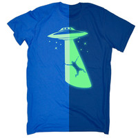 123t USA Men's Glow In The Dark UFO Spaceship Funny T-Shirt