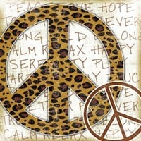The Kids Room by Stupell Leopard Print Peace Sign Typography Background Square Wall Plaque