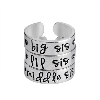 3 pcs Big Sis Middle Sis LiL Sis Ring Set Silver Color Love Heart Opening Ring For Best Friends Sister Brother Letters Jewelry