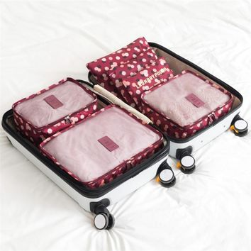 6 Piece Wine Daisy Packing Cube Set