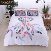 Bonenjoy White Bed Cover Dream Catcher Print Colorful Flower Queen King Size Bedding Set Bed Linen Single Bed Quilt Cover Sets